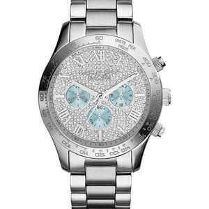 Michael Kors Silver Crystal Pave Chronograph Watch